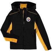 Pittsburgh Steelers Youth Fan Tech Hi-Tech Full-Zip Hoodie - Black