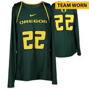 Oregon Ducks Fanatics Authentic Women's Lacrosse Team-Worn #22 Green and Yellow Long Sleeve Jersey used between the 2010 - 2016