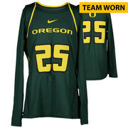 Oregon Ducks Fanatics Authentic Women's Lacrosse Team-Worn #25 Green and Yellow Long Sleeve Jersey used between the 2010 - 2016