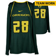 Oregon Ducks Fanatics Authentic Women's Lacrosse Team-Worn #28 Green and Yellow Long Sleeve Jersey used between the 2010 - 2016