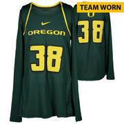 Oregon Ducks Fanatics Authentic Women's Lacrosse Team-Worn #38 Green and Yellow Long Sleeve Jersey used between the 2010 - 2016