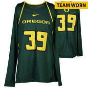 Oregon Ducks Fanatics Authentic Women's Lacrosse Team-Worn #39 Green and Yellow Long Sleeve Jersey used between the 2010 - 2016