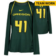 Oregon Ducks Fanatics Authentic Women's Lacrosse Team-Worn #41 Green and Yellow Long Sleeve Jersey used between the 2010 - 2016