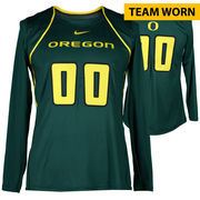 Oregon Ducks Fanatics Authentic Women's Lacrosse Team-Worn #00 Green and Yellow Long Sleeve Jersey used between the 2010 - 2016