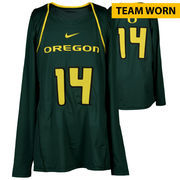 Oregon Ducks Fanatics Authentic Women's Lacrosse Team-Worn #14 Green and Yellow Long Sleeve Jersey used between the 2010 - 2016