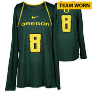 Oregon Ducks Fanatics Authentic Women's Lacrosse Team-Worn #8 Green and Yellow Long Sleeve Jersey used between the 2010 - 2016 S