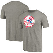 New York Yankees Fanatics Branded Cooperstown Collection Forbes Tri-Blend T-Shirt - Ash