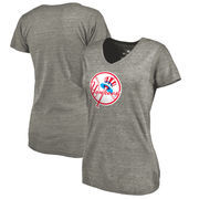 New York Yankees Fanatics Branded Women's Cooperstown Collection Forbes Tri-Blend V-Neck T-Shirt - Ash