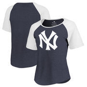 New York Yankees Fanatics Branded Women's Huntington Cooperstown Collection Tri-Blend T-Shirt - Navy