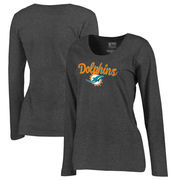 Miami Dolphins NFL Pro Line by Fanatics Branded Women's Freehand Long Sleeve Plus Size T-Shirt - Dark Heathered Gray