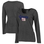 New York Giants NFL Pro Line by Fanatics Branded Women's Freehand Long Sleeve Plus Size T-Shirt - Dark Heathered Gray