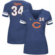 Walter Payton Chicago Bears Majestic Women's Hall of Fame For All Time Name & Number Tri-Blend V-Notch T-Shirt - Navy