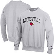 Louisville Cardinals Champion Reverse Weave Crewneck Sweatshirt – Gray