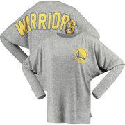 Golden State Warriors Fanatics Branded Women's Hacci Cozy Fleece Spirit Jersey Tri-Blend Sweatshirt – Heathered Gray
