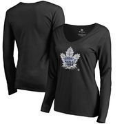 Toronto Maple Leafs Fanatics Branded Women's Midnight Mascot Long Sleeve V-Neck T-Shirt - Black