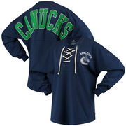 Vancouver Canucks Fanatics Branded Women's Lace Up Long Sleeve Spirit T-Shirt – Blue