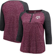 Texas A&M Aggies Colosseum Women's Plus Size Team Logo 3/4-Sleeve Raglan Henley T-Shirt - Maroon