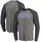 Oklahoma City Thunder Fanatics Branded Primary Wordmark Tri-Blend Long Sleeve T-Shirt - Heathered Gray