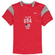 Team USA Nike Girls Youth Fan V-Neck T-Shirt - Red