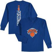 Kristaps Porzingis New York Knicks Fanatics Branded Youth Stacked Name & Number Long Sleeve T-Shirt - Blue