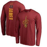 LeBron James Cleveland Cavaliers Fanatics Branded Backer Name & Number Long Sleeve T-Shirt - Wine