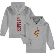 LeBron James Cleveland Cavaliers Fanatics Branded Youth Backer Name & Number Pullover Hoodie - Gray