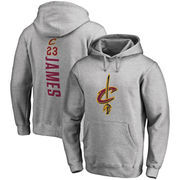 LeBron James Cleveland Cavaliers Fanatics Branded Backer Name & Number Pullover Hoodie - Gray