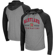 Maryland Terrapins Colosseum Big & Tall Personal Flair Long Sleeve Hooded T-Shirt - Heathered Gray