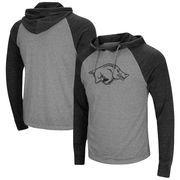 Arkansas Razorbacks Colosseum Personal Flair Tri-Blend Thermal Hooded Long Sleeve T-Shirt - Gray/Black
