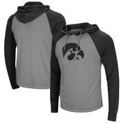 Iowa Hawkeyes Colosseum Personal Flair Tri-Blend Thermal Hooded Long Sleeve T-Shirt - Gray/Black