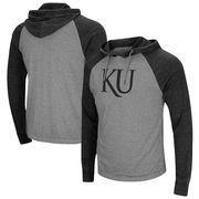 Kansas Jayhawks Colosseum Personal Flair Tri-Blend Thermal Hooded Long Sleeve T-Shirt - Gray/Black