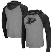 Purdue Boilermakers Colosseum Personal Flair Tri-Blend Thermal Hooded Long Sleeve T-Shirt - Gray/Black