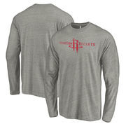 Houston Rockets Fanatics Branded Distressed Logo Tri-Blend Long Sleeve T-Shirt - Heathered Gray