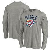 Oklahoma City Thunder Fanatics Branded Distressed Logo Tri-Blend Long Sleeve T-Shirt - Heathered Gray