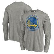 Golden State Warriors Fanatics Branded Distressed Logo Tri-Blend Long Sleeve T-Shirt - Heathered Gray