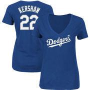 Clayton Kershaw Los Angeles Dodgers Majestic Women's Name & Number V-Neck T-Shirt – Royal