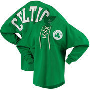 Boston Celtics Fanatics Branded Women's Lace-Up Spirit Jersey Long Sleeve T-Shirt - Kelly Green