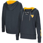 West Virginia Mountaineers Colosseum Women's Rhymes Lace-Up Pullover V-Neck Hoodie – Navy