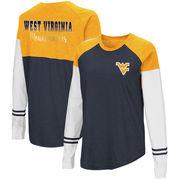 West Virginia Mountaineers Colosseum Women's Fencing Long Sleeve Raglan T-Shirt - Navy