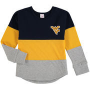 West Virginia Mountaineers Colosseum Girls Youth Treasure Color Blocked Long Sleeve T-Shirt - Navy/Gold