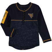West Virginia Mountaineers Colosseum Girls Toddler Wishing Well Henley Long Sleeve T-Shirt - Navy