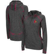 Louisville Cardinals Colosseum Women's Capo Ferro Windshirt Quarter-Zip Pullover Hoodie - Heathered Charcoal