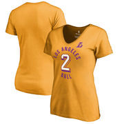 Lonzo Ball Los Angeles Lakers Fanatics Branded Women's Notable Name & Number V-Neck T-Shirt - Gold