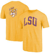 LSU Tigers Fanatics Branded Vault Two Hit Arch T-Shirt - Heathered Gold