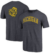 Michigan Wolverines Fanatics Branded Vault Two Hit Arch T-Shirt - Heathered Navy