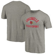 Louisville Cardinals Fanatics Branded Distressed Pick-A-Sport Tri-Blend Sleeve T-Shirt - Ash