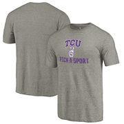 TCU Horned Frogs Fanatics Branded Distressed Pick-A-Sport Tri-Blend Sleeve T-Shirt - Ash