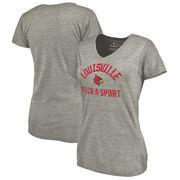 Louisville Cardinals Fanatics Branded Women's Distressed Pick-A-Sport Tri-Blend V-Neck T-Shirt - Ash