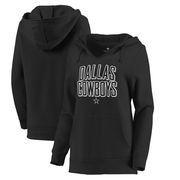 Dallas Cowboys Let Loose by RNL Women's Deep V Pullover Hoodie - Black