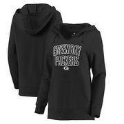 Green Bay Packers Let Loose by RNL Women's Deep V Pullover Hoodie - Black